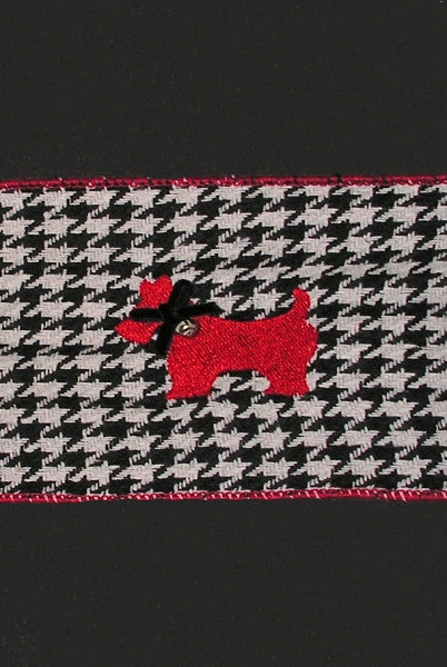 Houndstooth Ribbon w/Jingle Bell Scottie