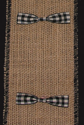 Burlap w/Black & Cream Bow