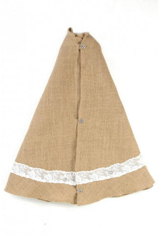 Christmas Tree Skirt, Burlap & Lace
