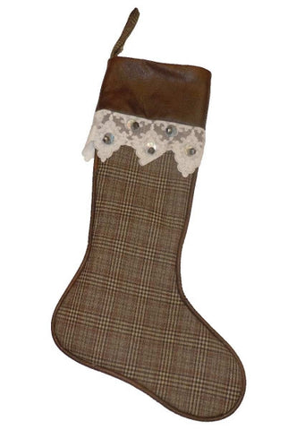 Christmas Stocking, Plaid w/ Faux Leather