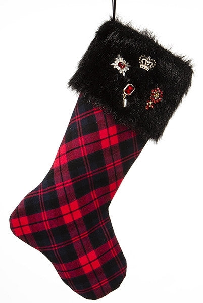 f Christmas Stocking Plaid