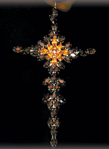 Crystal Cross Brown & Orange
