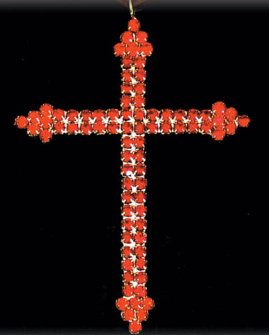 Small Crystal Cross Gold & Red
