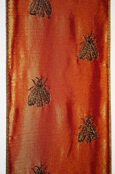 French Bee on Copper Taffeta
