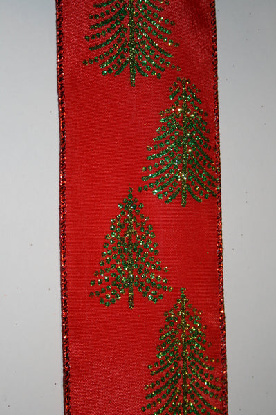 Red Taffeta w/Glitter Tree