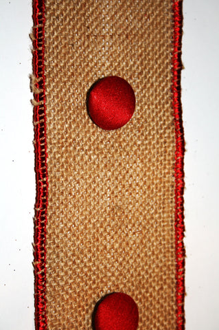 Burlap w/Red Button