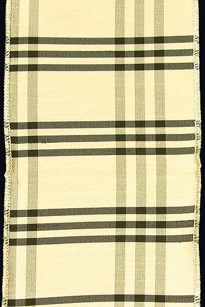 Plaid Dupioni Ivory and Black