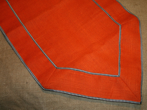 Orange Burlap w/Checkered Trim Runner