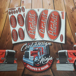 In-Stock Special - Red Black Fade Peterbilt Emblem Skin Kit - Daycab Interior/Exterior