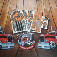 In-Stock Special - Old School Grey and Coral Kenworth Emblem Skin W9 Interior/Exterior Kit