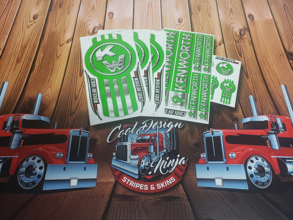 In-Stock Special - Apple Green Kenworth Emblem Skin W9 Interior/Exterior Kit