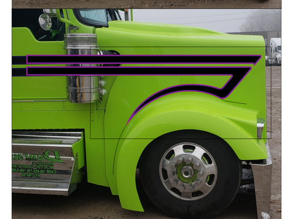 Black and Purple Reverse Fenderhook KW Stripe Kits
