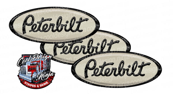Black and Cream Peterbilt Emblem Skins