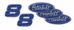 Custom Blue and Chrome Peterbilt Emblem Skins with Unit Numbers