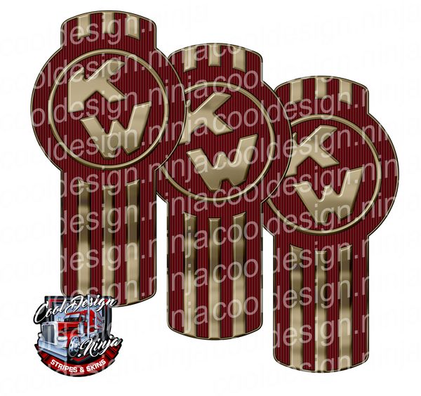 Burgundy Gold Kenworth Emblem Skin Kit