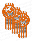 3-Pack of Chrome and Orange Kenworth Emblem Skins