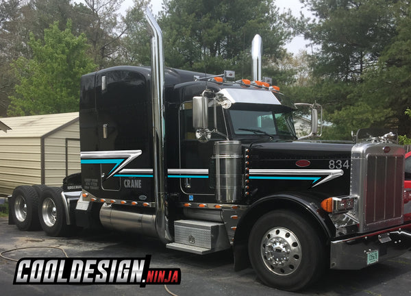 Chrome-Teal Short Hood Peterbilt Trailing Wedge Stripe Kit