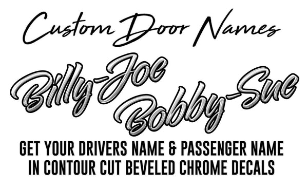 Contour Cut Custom Chrome Door Name Decals