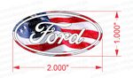 "2"" x 1"" American Flag Ford Emblem Skins - Sheet of 10"