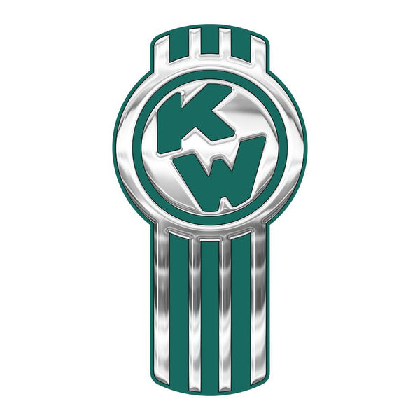 Chrome/Medium Green Kenworth Emblem Skins x 3