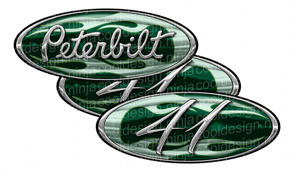 Green Flame Unit 21 Peterbilt Emblem Skins