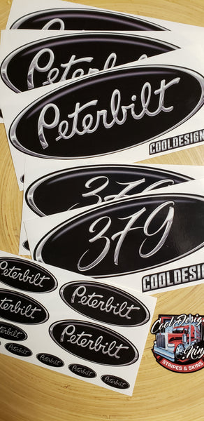 In-Stock Special - Black and Chrome 379 Peterbilt Emblem Skin Full Interior Exterior Kit