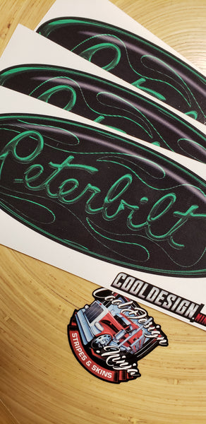 In-Stock Special - 3-Pack Green Flame Peterbilt Hood Emblem Skins