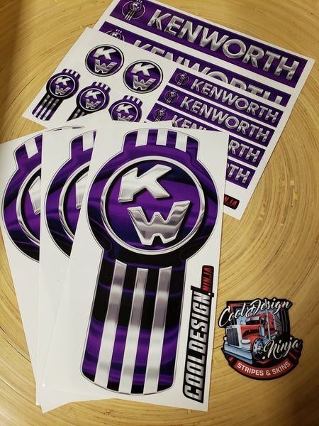 In-Stock Special - Purple Kenworth Emblem Skins Full Interior Exterior Kit