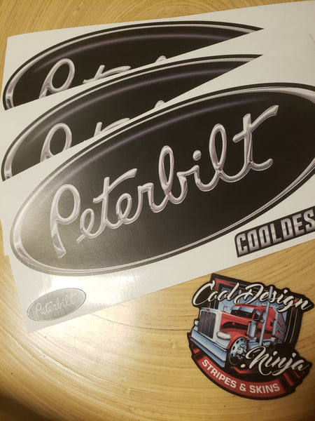 In-Stock Special - 3-Pack Black Matte Finish Peterbilt Hood Emblem Skins