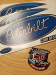 In-Stock Special - 3-Pack Medium Blue Matte Finish Peterbilt Hood Emblem Skins