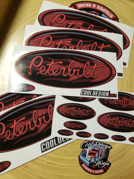 In-Stock Special - Red Flame Peterbilt Full Interior Exterior Emblem Skin Kit