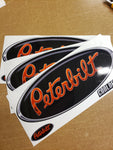 In-Stock Special - 3-Pack Chrome Trimmed Orange and Black Peterbilt Hood Emblem Skins
