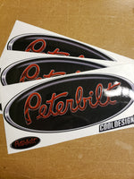 In-Stock Special - 3-Pack Chrome Trimmed Red and Black Peterbilt Hood Emblem Skins