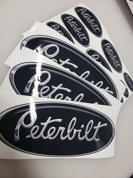 In-Stock Special - Peterbilt Black and Chrome Hood and Interior Emblem Skins