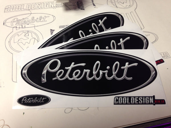 In-Stock Special - 3-Pack Black/Chrome Peterbilt Hood Emblem Skins