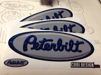 In Stock Special - Silver and Blue Peterbilt Emblem Skin - Hood Kit