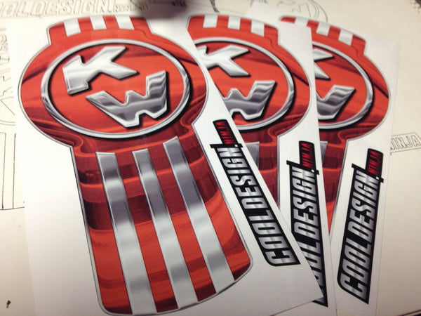 In-Stock Special - 3-Pack Orange/Chrome Kenworth Emblem Skins