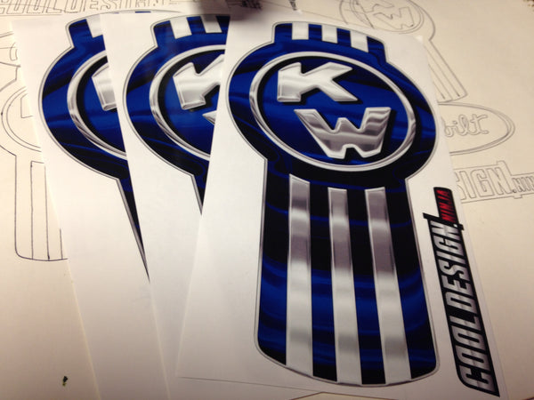 In-Stock Special - 3-Pack Blue/Chrome Kenworth Emblem Skins