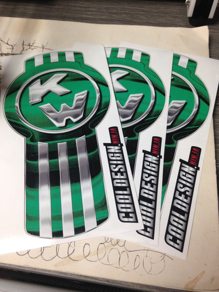 In-Stock Special - 3-Pack Green/Chrome Kenworth Emblem Skins