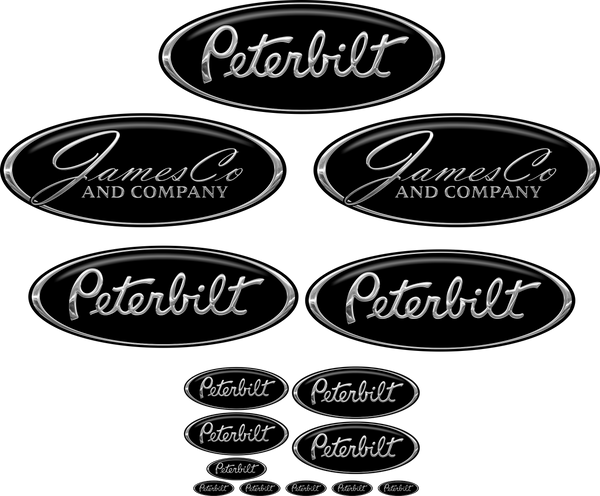Black/Chrome JamesCo Peterbilt Emblem Skins