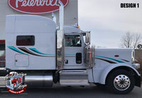 Light Accadian 389 Peterbilt Dark Chrome and Aqua Stripe Kits