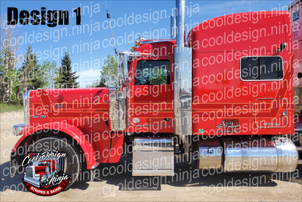 389 Matte Red and Gold Hood Hugger Peterbilt Stripe Kit