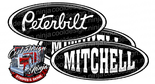 Black and White Mitchell Peterbilt Emblem Skins