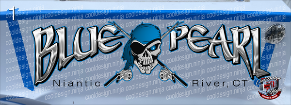 43 x 12 in Niantic River Blue Pearl Boat Decal