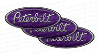 3-Pack Chrome/Purple Peterbilt Emblem Skins