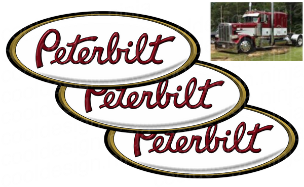 3-Pack of Red/White/Gold Peterbilt Emblem Skins