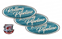Rolling Pipeline White and Teal Peterbilt Emblem Skins