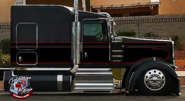 Black and Red Seminole Kenworth Stripe Kit