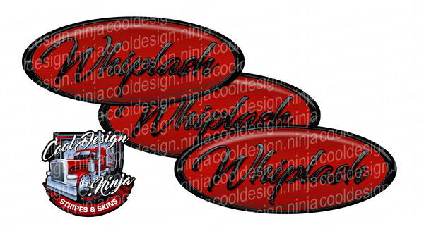 Red and Black Whiplash Peterbilt Emblem Skins