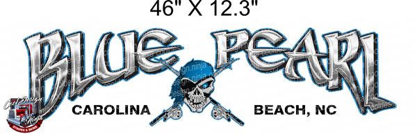 46 x 13in Carolina Beach Blue Pearl Boat Decal